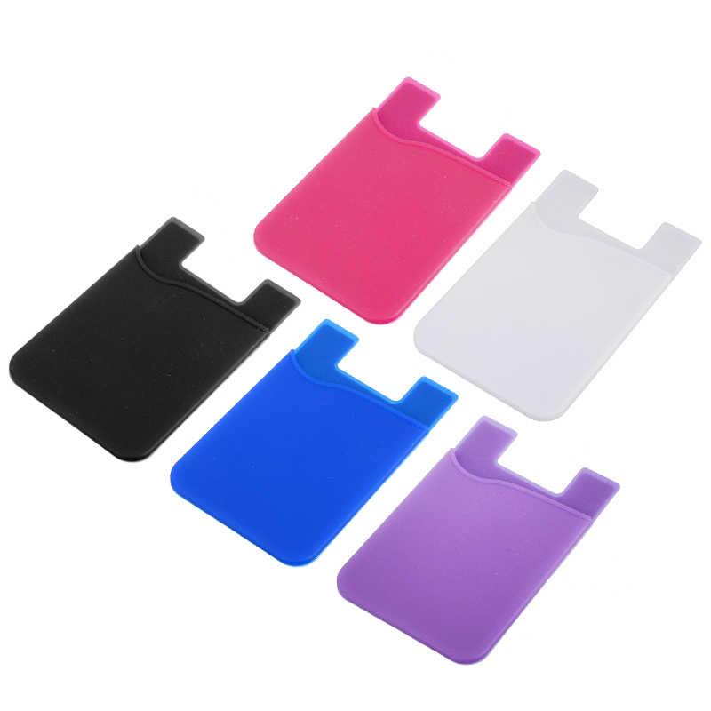 Telefone móvel voltar titular carteira de silicone bolsa de cartão de crédito adesivo capa traseira titular caso para telefone celular colorido titular do cartão