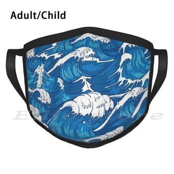 Blue Ocean Waves Drawing Print Washable Anti Dust Scarf Mask Blue Ocean Blue Ocean Waves Color Colorful Wave Wavey Waves image