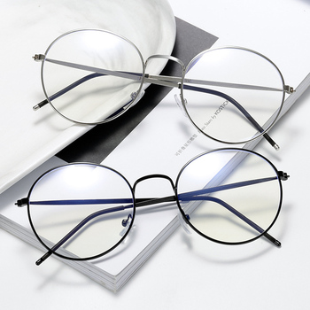 Vintage Retro Round Metal Spectacles Frame Women Men Anti Blue Light Ray Blocking Eye Computer Glasses Clear Lens For Office image