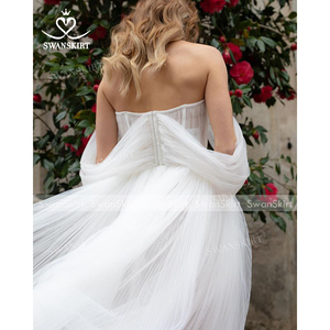 Image 4 - Sweetheart Beaded Wedding Dress 2 In 1 Detachable Off Shoulder Ruched Tulle A Line Swanskirt D101 Bridal Gown Vestido de novia