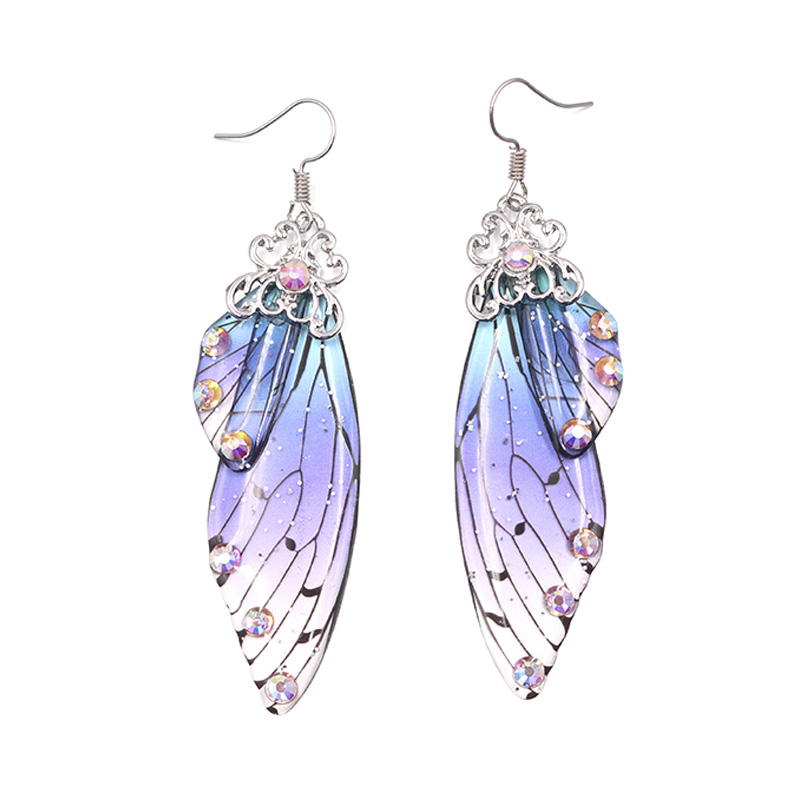 Bridal Jewelry Wing-Earrings Fairy-Simulation Romantic Insect Handmade Butterfly Foil