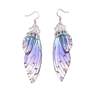 Handmade Fairy Simulation Wing Earrings Insect Butterfly Wing Drop Earrings Foil Rhinestone Earrings Romantic Bridal Jewelry(China)