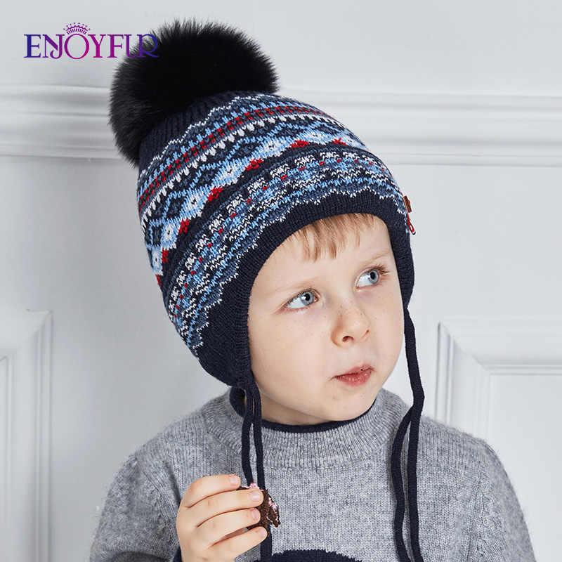 ENJOYFUR Geométrica dos Retalhos de Algodão Caps Crianças Malha Chapéus de Inverno Real Fox Fur Pompom Ouvidos Menino Gorros Chapéu Crianças Quentes de Espessura