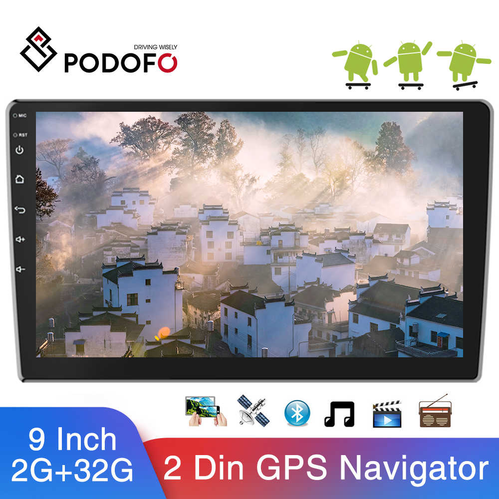 "Podofo 9 ""Android Mobil Multimedia Player 2din Mobil Radio Audio Stereo Auto Radio GPS Bluetooth WIFI Mirrorlink MP5 Player Radio"
