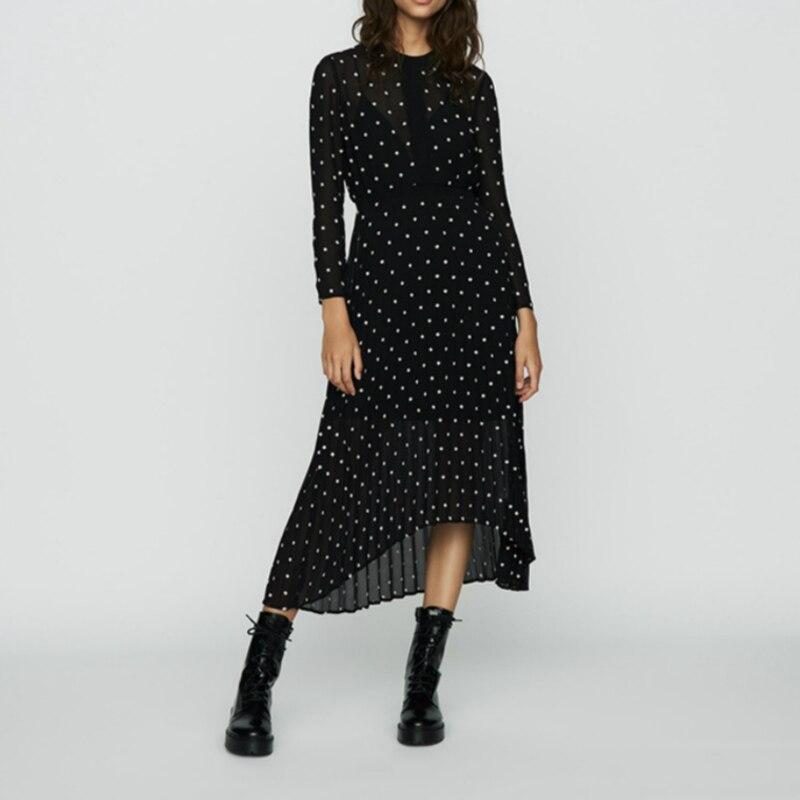 CAMIA noir à pois asymétrique femmes robe 2019 hiver nouveau mousseline de soie auto-culture plissée à manches longues robe brodée