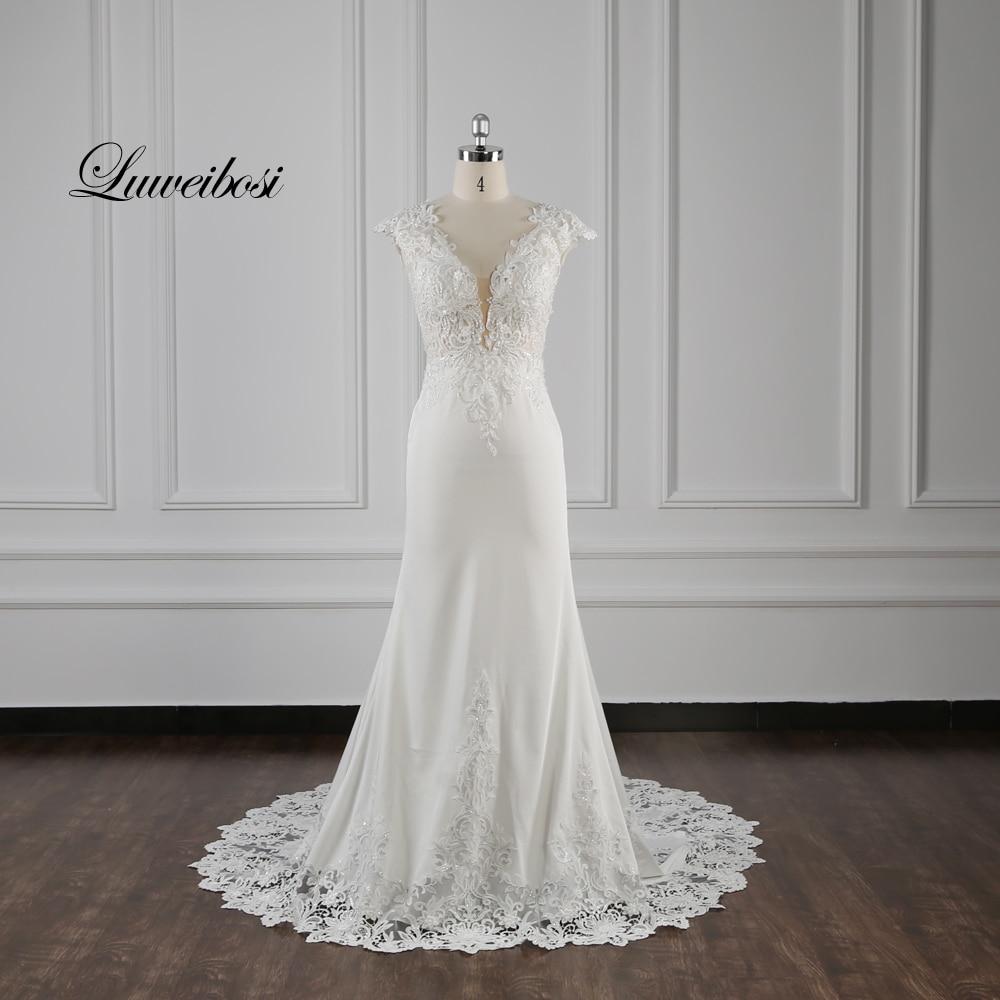 100% Real Picture Wellbirth Vestido De Novia 2020 Satin Lace Mermaid Wedding Dress Cap Sleeves Bridal Dress TT039