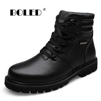 Plus Size Platform Men Winter Shoes Lace-Up Plush Fur Warm Outdoor Men Boots High Quality Keep Warm Ankle Snow Boots Shoes
