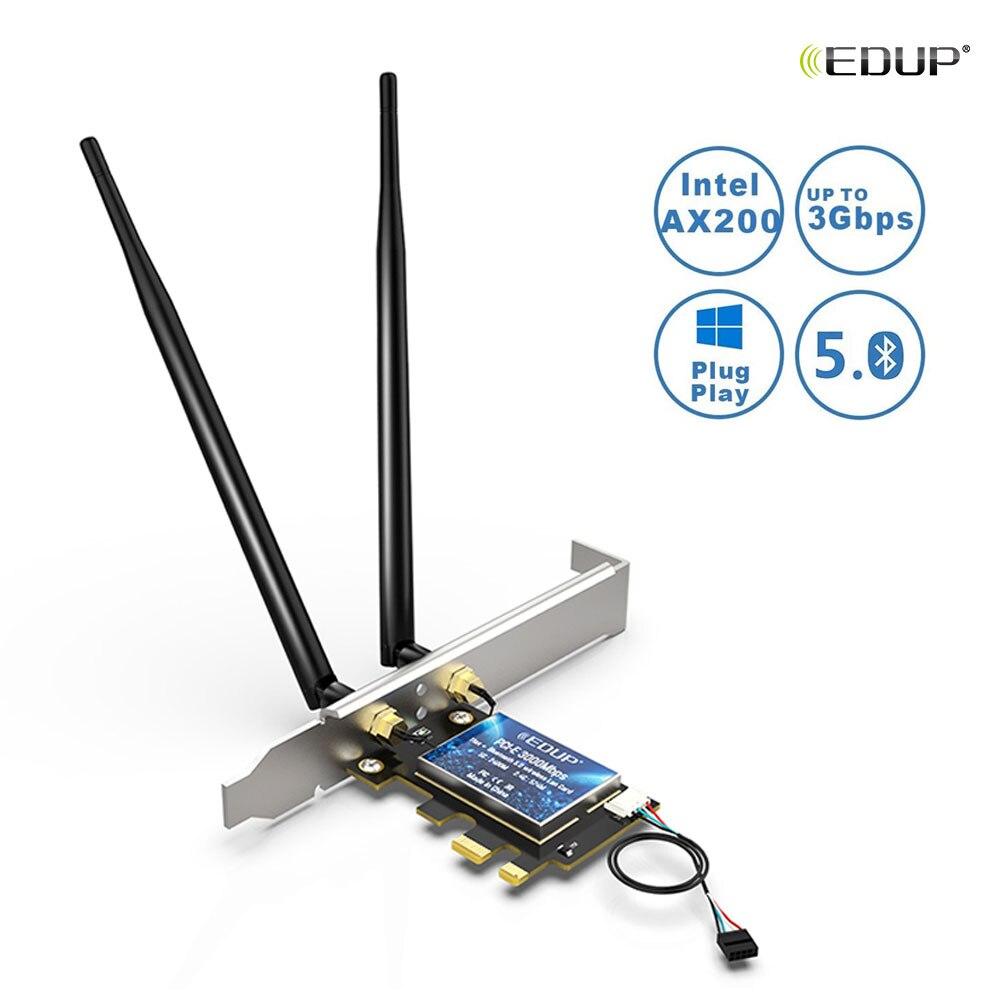 EDUP 802.11AX WiFi 6 3000Mbps PCI-E WiFi Card Intel AX200 Dual Band Wireless Network Adapter Bluetooth 5.0 WiFi Receiver
