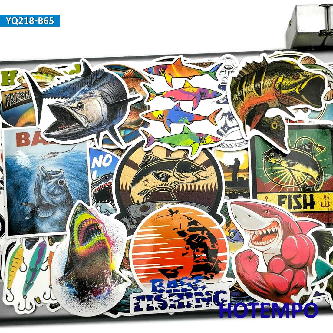 65pcs Outdoors Fisherman Go Fishing Fashion Fish Stickers For Mobile Phone Laptop Luggage Skateboard Box Tank Bucket Art Sticker
