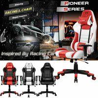 Krzesło biurowe obrotowe Gmae krzesło z wysokim oparciem wyścigi fotel gamingowy ergonomiczne biurko komputerowe krzesło PU skórzane siedzisko szybka darmowa wysyłka w Krzesła biurowe od Meble na
