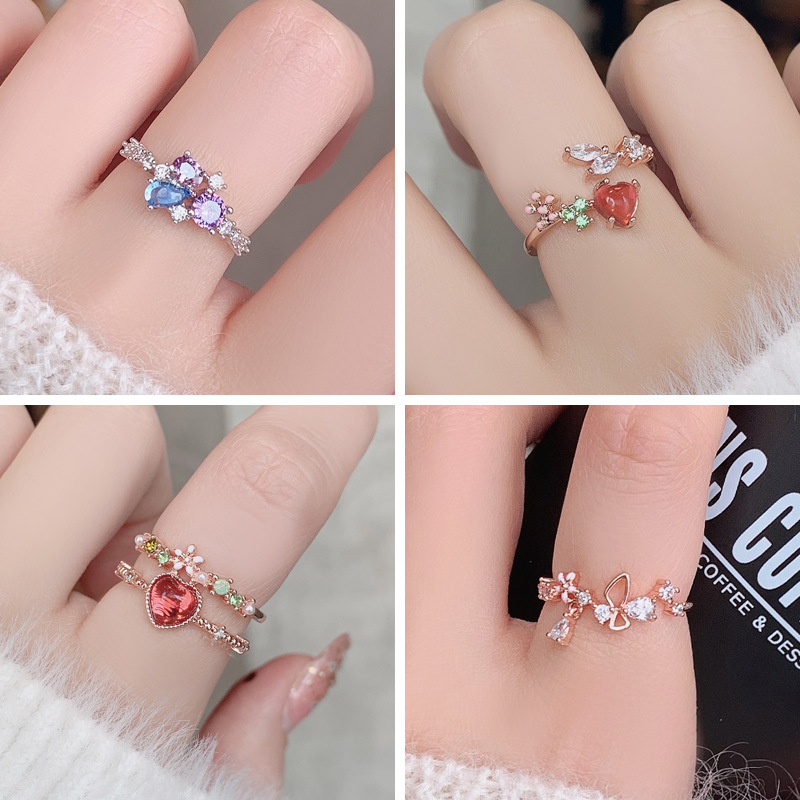 2020 Hot Sale Shiny Rhinestone Sweet Floral Rings for Women Girls Bling Bling Crystal Mosaic Jewelry Valentine's Gift 23 Colors