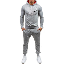 цена 2019 new men's suit sportswear hoodie solid color brand men's jogging sportswear two-piece spring and autumn workout clothes
