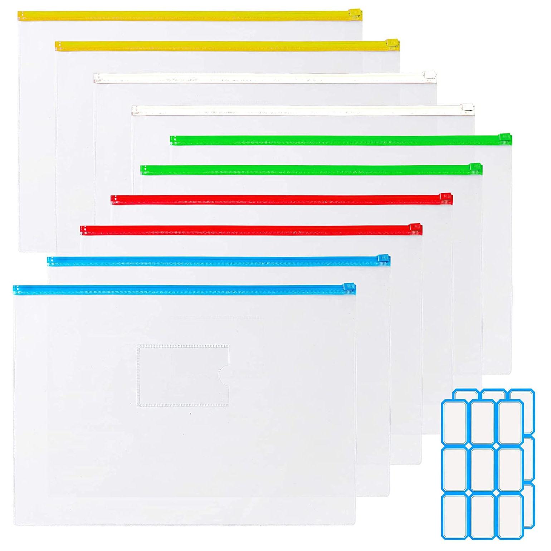 12 Pcs/Set A4/A6 PVC Transparent Waterproof  Envelope Files Bill Bags Pencil Pouches 5 Color Zippers Bags With 2 Label Sticker