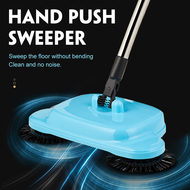 3in1 Hand Push Sweeper Mop with 6 pcs Mop Cloth Stainless Steel Sweeping Machine Push Type Hand Push Magic Broom Dustpan Handle
