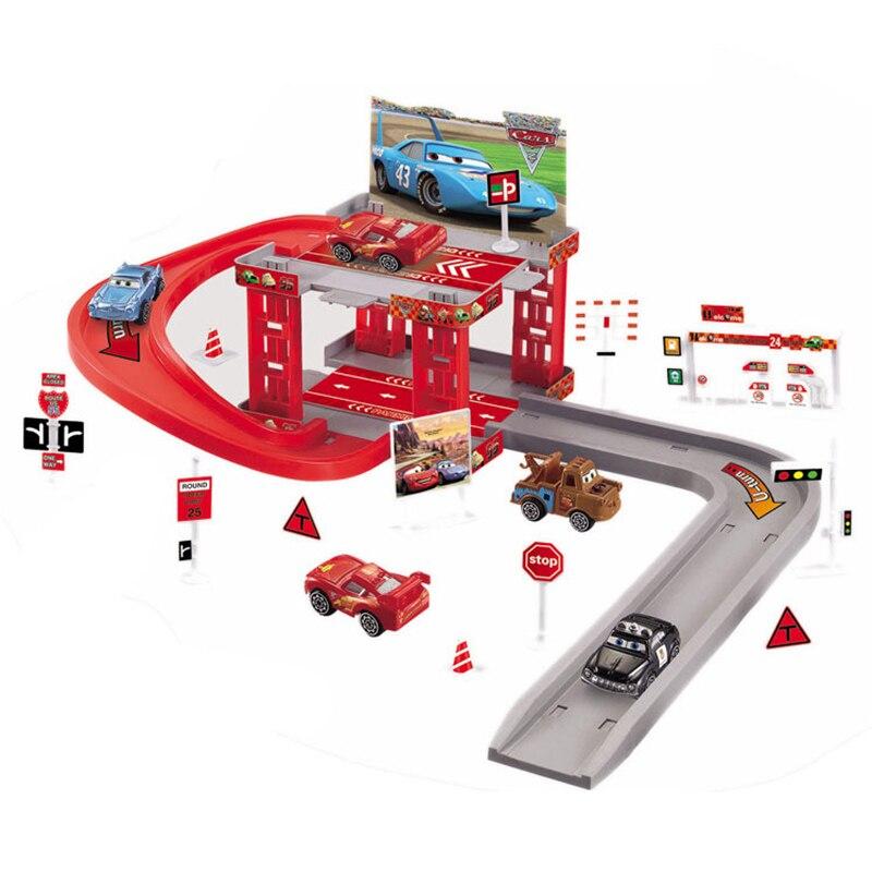 Disney Pixar Cars 2 3 Lightning Mcqueen Track Parking Railway Playset Assembled Educational Toys Vehicle Children Boy Gift