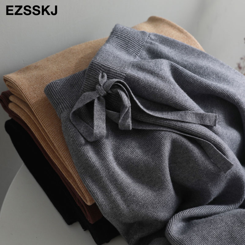 2019 autumn winter new THICK casual straight pants women female drawstring loose knitted wide leg pants casual Trousers 35