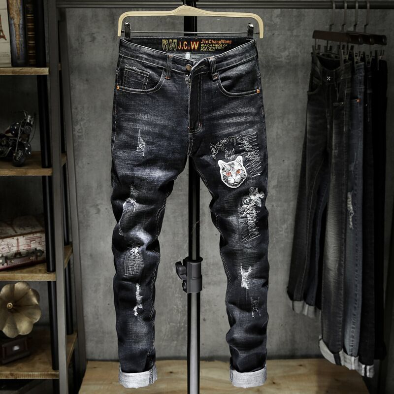 2019 Autumn Mens Cat Embroidery Mill Elastic Men Jeans  Skinny Slim Fit Stretchy Blue Cotton Comfy Hole skinny jeans men