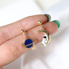 Creative Cute Design Universe Planet Star Astronaut Tassel Drop Earrings For Women Girls Hollow Circle Crystal Pendant Jewelry(China)
