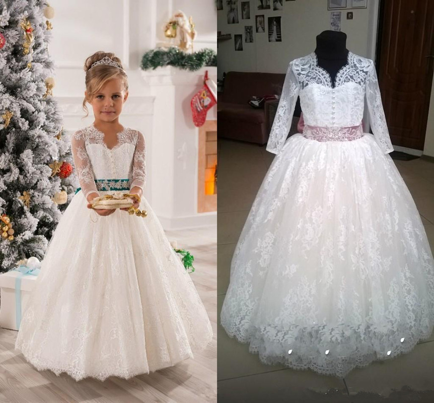 Ivory Lace Tulle Beading Flower Girl Dresses For Birthday Weddings Holiday First Communion Dresses For Little Girls
