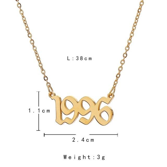 Femmes année nombre colliers personnalisés année 1992 1993 1994 1995 1996 1997 1998 1999 2000 2001 cadeau danniversaire de 1992-2001