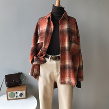 Spring Autumn Chic New Casual Plaid Shirt Women Long-Sleeved Loose Korean Clothes Tops