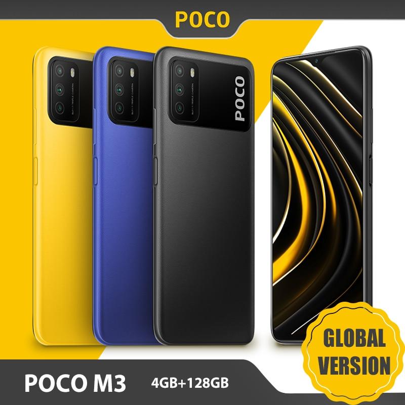 """Version mondiale POCO M3 Smartphone 4GB 128GB téléphone portable Snapdragon 662 Octa Core 6.53 """"affichage 6000mAh batterie 48MP appareil photo"""