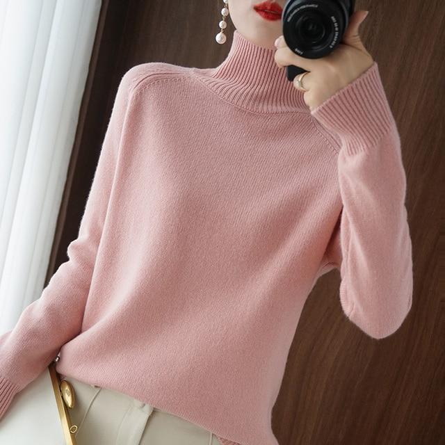 Женский кашемировый свитер с высоким воротником и длинными рукавами 3