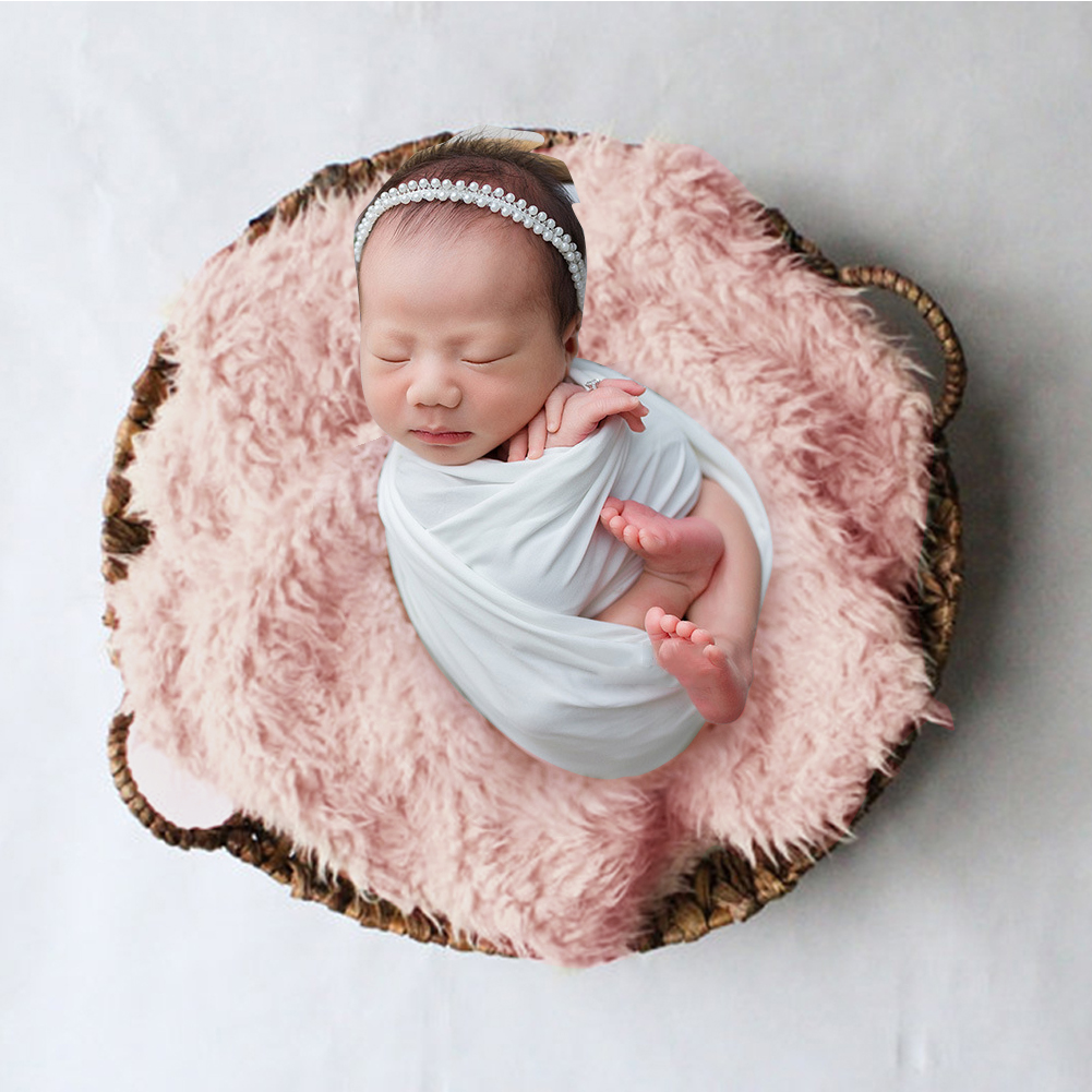 Square Unisex Faux Fur Rug Newborn Soft Wrap Baby Blanket Stuffer Warm Solid Photography Props Backdrop