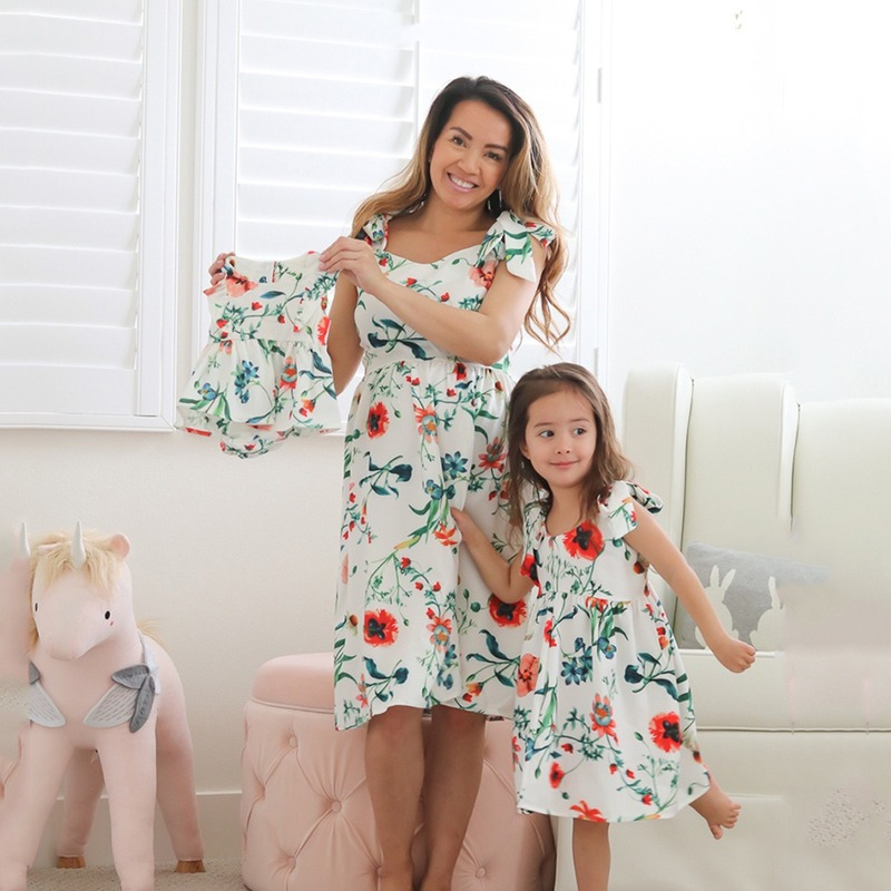 Summer Dress 2021 Mom and Daughter Dress Sling Mommy and Me Floral Dress Flower Girl Vestidos Baby Romper Clothes Family Look