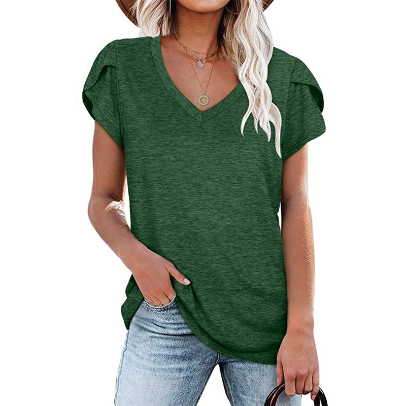 2021 Fashion New Women T Shirt Elegant Solid Color Ladies Tee Casual V Neck Short Sleeve Female Tops