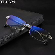 Fashionable Ultralight frameless Anti-blue reading glasses Women Men Clear LensComputer Glasses Presbyopia Reader()