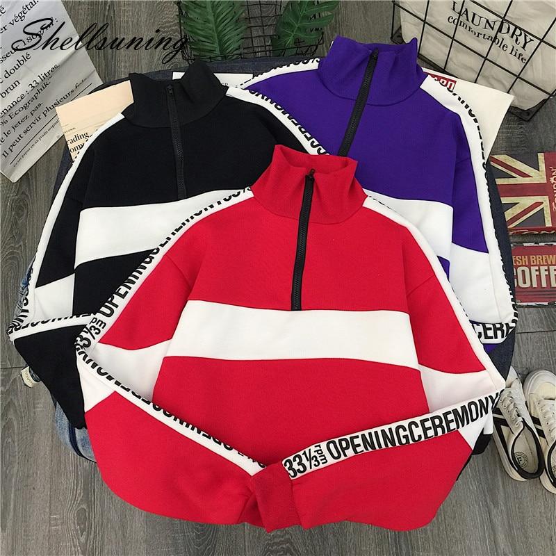 Shellsuning Korean 2019 Letter Print Red Sweatshirts New Long Sleeve Streetwear Women Quarter Zipper Spell Color Pullover Tops