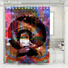 African American Bathroom Shower Curtains Boho Afro Art Rainbow Galaxy Waterproof Fabric Bath