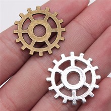 WYSIWYG 10pcs Charms Steampunk Gear 2 Colors Antique Silver Color Antique Bronze Color 25mm Metal Alloy Jewelry DIY Accessories