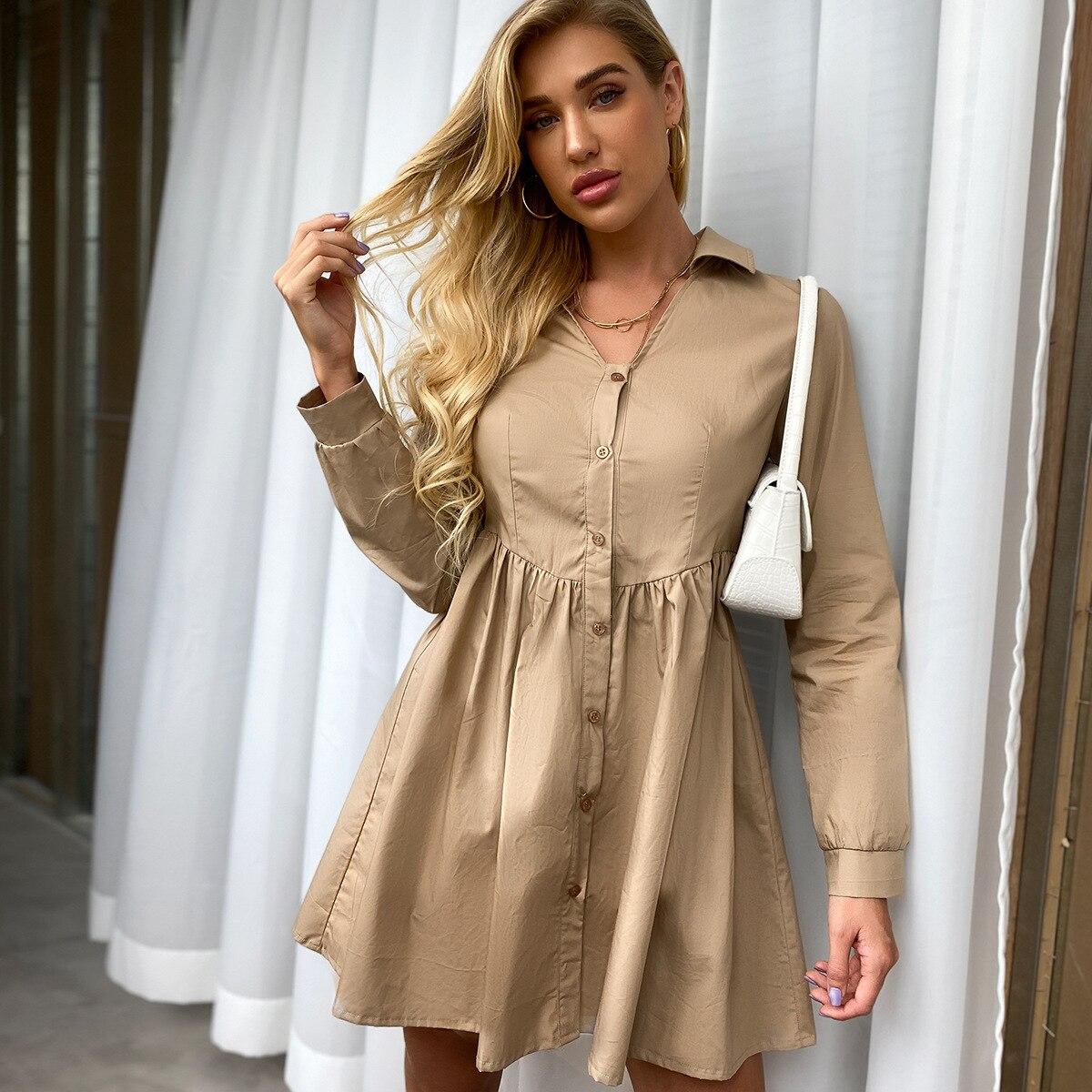 2020 New Autumn Solid  Women Mini Dress Shirring V-neck Bodycon Elegant High Waist Full Sleeve Pleated Dress
