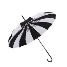 1PC Black And White Umbrellas Women Big Large long Handle Gothic Classical Windproof Tower Pagoda Rain Umbrella(China)