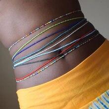 2 pçs/set Bohemian Africano Contas Cintura Corpo Corrente Dupla Vertente Cadeia de Barriga para As Mulheres Cintura Elástica Cadeia Praia Jóias