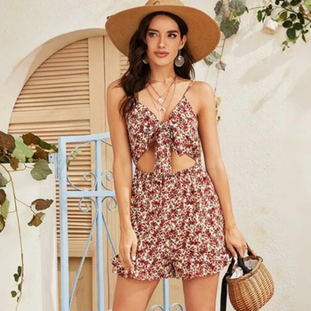 Women's front pierced detail floral tank top sleeveless dress Women's floral print halter dress sleeve slim chiffon dress button front sleeveless dress