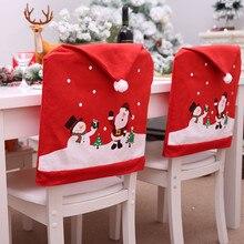 Санта-Клаус, кухонные рождественские покрытия для стула, чехлы для стульев, вечерние украшения для дома, fundas para sillas de comedor