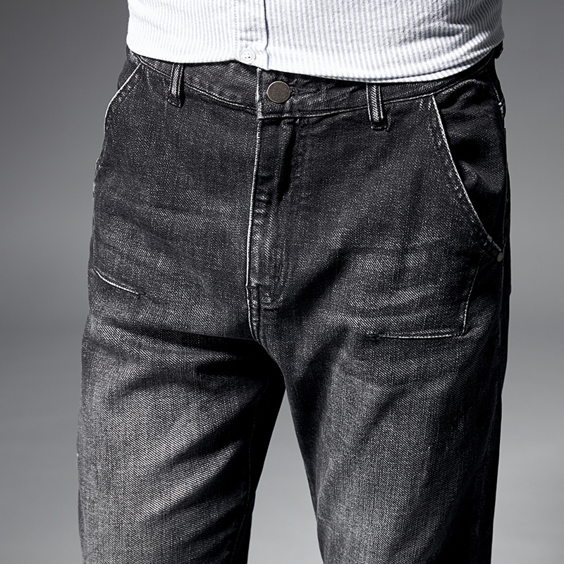 KSTUN jeans for men straight fit through the hips and thighs but tapers near the ankles regular fit