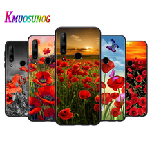 Silicone Cover Red Poppies flowers painting For Honor 10i 9X 8X MAX 20 10 9 Lite 8 8A Prime 7A Pro Lite Black Phone Case