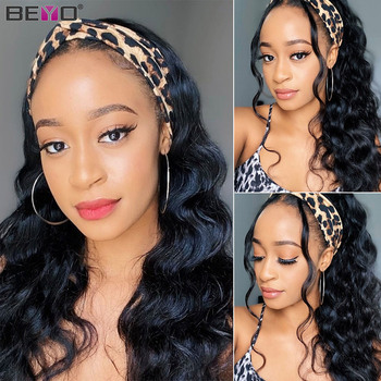 Body Wave Headband Wig Human Hair Wigs For Black Women Remy Scarf Full Machine Made With - discount item  58% OFF Human Wigs( For Black)