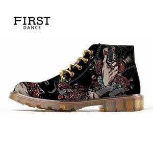 Image 4 - 最初のダンスファッションメンズスカル男性のファッションブーツスケルトンプリント黒素敵な足首の靴男オックスフォードスプリントブーツ男性