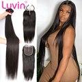 Luvin 28 30 32 40 дюймов прямые бразильские человеческие волосы плетение 3 4 пряди и 4x4 кружева закрытие Remy длинные волосы