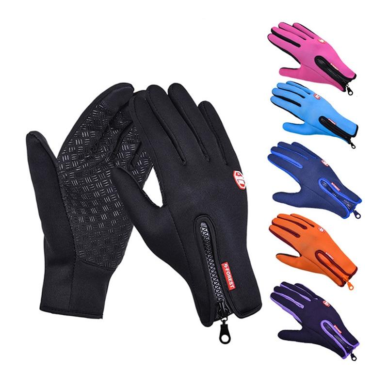 Мужские зимние теплые перчатки с сенсорным экраном, водонепроницаемые женские лыжные осенние дышащие спортивные перчатки для верховой езд...