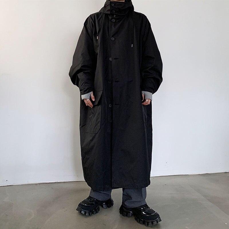 Мужское пальто свободного кроя с капюшоном, хлопковая стеганая длинная куртка для мужчин и женщин, уличная винтажная верхняя одежда, ветровка, плащ - 3