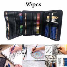 95PCS Professional Drawing Pencils Colored Sketch Kit Set Graphite Charcoal Pencils Drawing Accessory Adults Children(China)