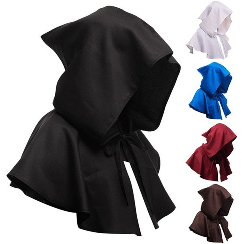 Adult Kid Retro Medieval Costume Hooded Short Cloak Solid Color Lace Up Neck Tie Halloween Cape Witch Wizard Cosplay Party Props