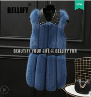 Winter Women Real Fox Fur Vest Fashion Rivets Sheepskin Collar Natural Fox Fur Waistcoat Medium Long Female Sleeveless Jacket