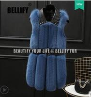 Winter Women Real Fox Fur Vest Fashion Rivets Sheepskin Collar Natural Fox Fur Waistcoat Medium Long Female Sleeveless Jacket